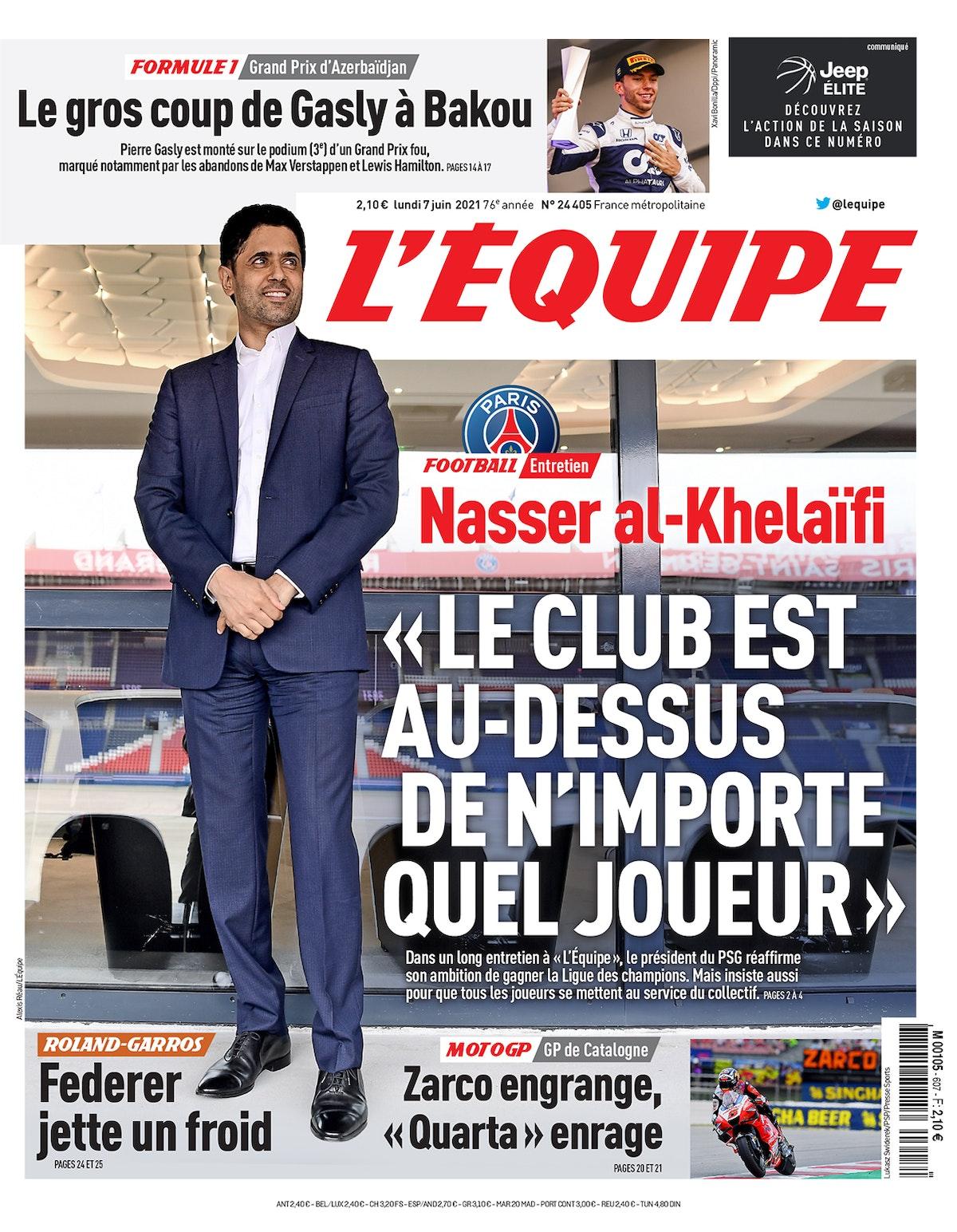 غلاف يومية ليكيب الفرنسية في تاريخ 7 يونيو 2021 - TWITTER/@lequipe