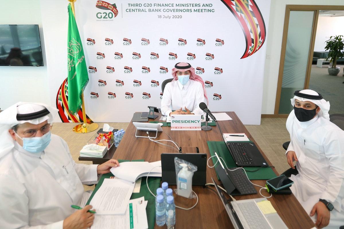 محمد الجدعان وزير المالية السعودي في اجتماع لوزراء مالية مجموعة العشرين في الرياض. يوليو 2020 - REUTERS