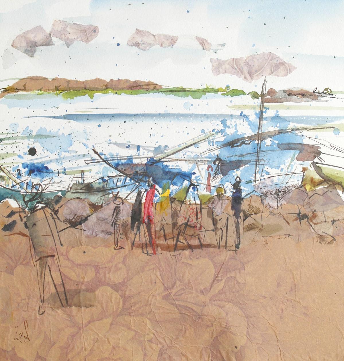 لوحة وسائط متعددة للفنان الدكتور عبدالعزيز الجندي - - الشرق