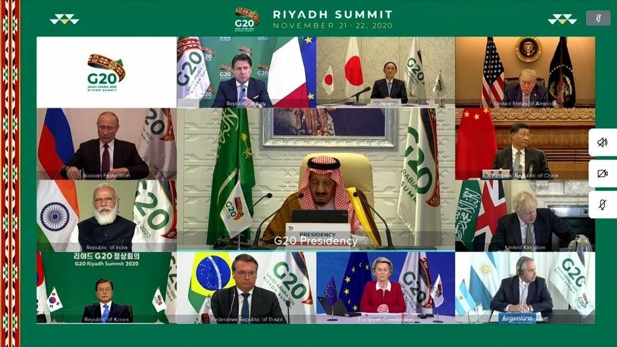 الملك سلمان بن عبد العزيز يلقي كلمة افتتاحية في قمة الرياض لقادة مجموعة العشرين، 21 نوفمبر 2020 - واس