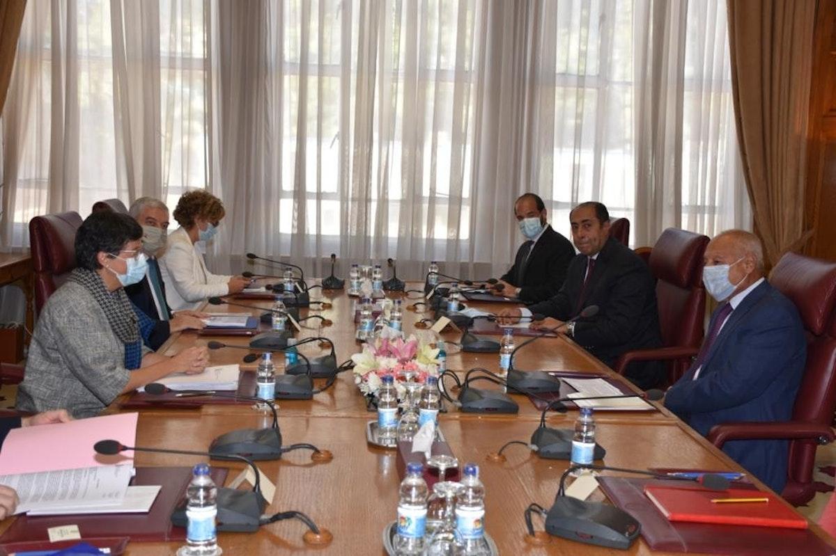 أبو الغيط خلال اجتماعه مع وزيرة الخارجية الإسبانية