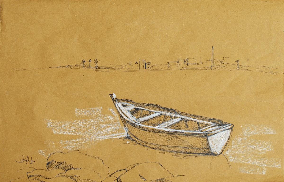 لوحة حبر وباستل زيتي للفنان علي الفرماوي - معرض المسحورة - الشرق