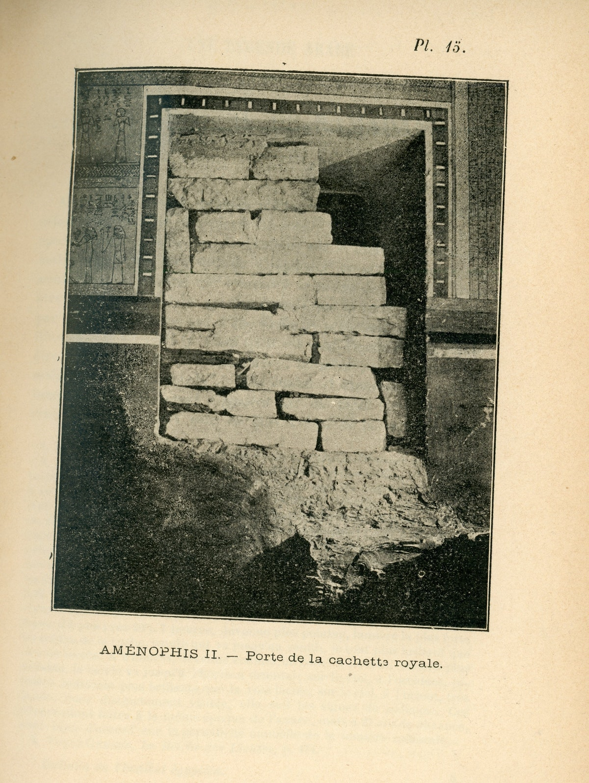 """باب المقبرة 35، المعروفة باسم """"الخبيئة المنسية"""". - كتاب مقبرة أمنحتب الثاني لفيكتور لوريه- الشرق"""