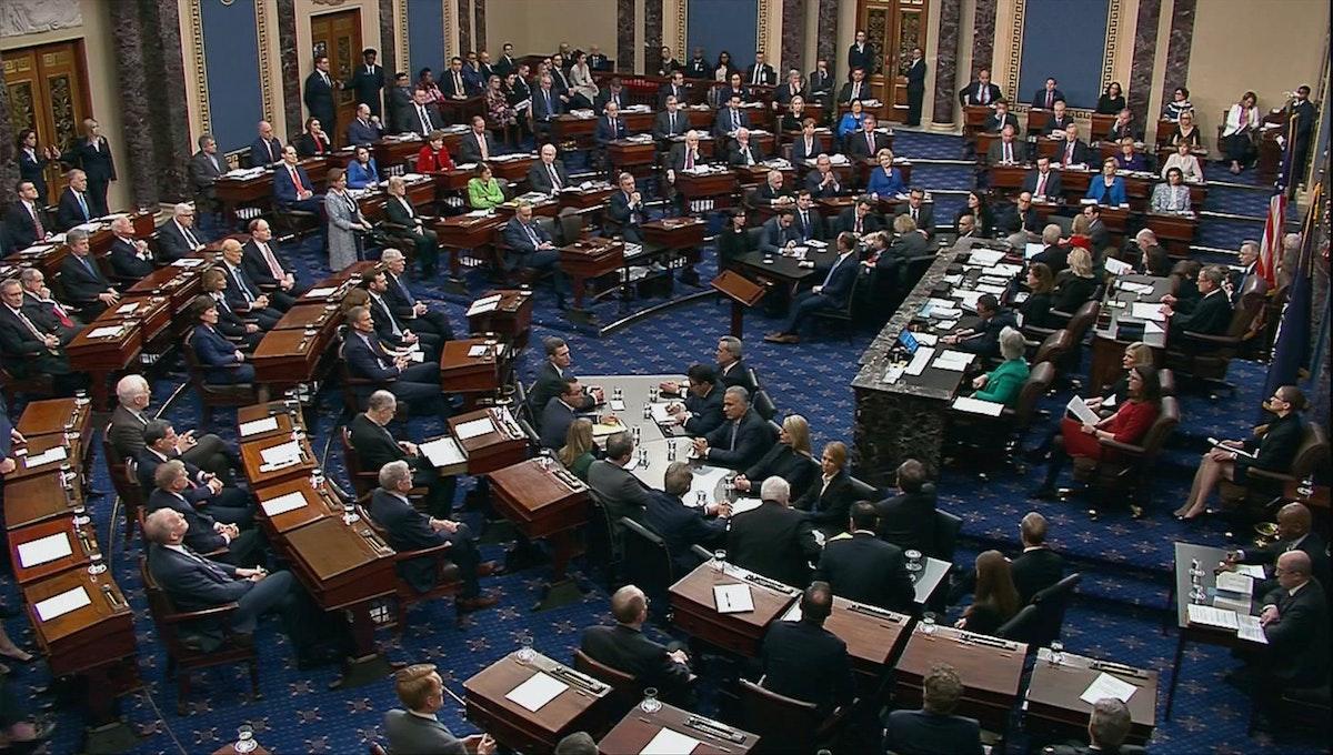 جلسة التصويت على عزل ترامب داخل مجلس الشيوخ الأميركي في واشنطن - REUTERS