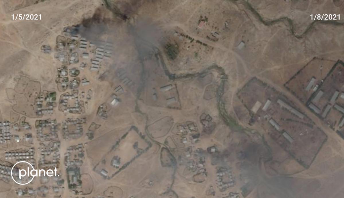 "دخان يتصاعد من مخيم ""هيتساتس"" - Planet Labs Inc"