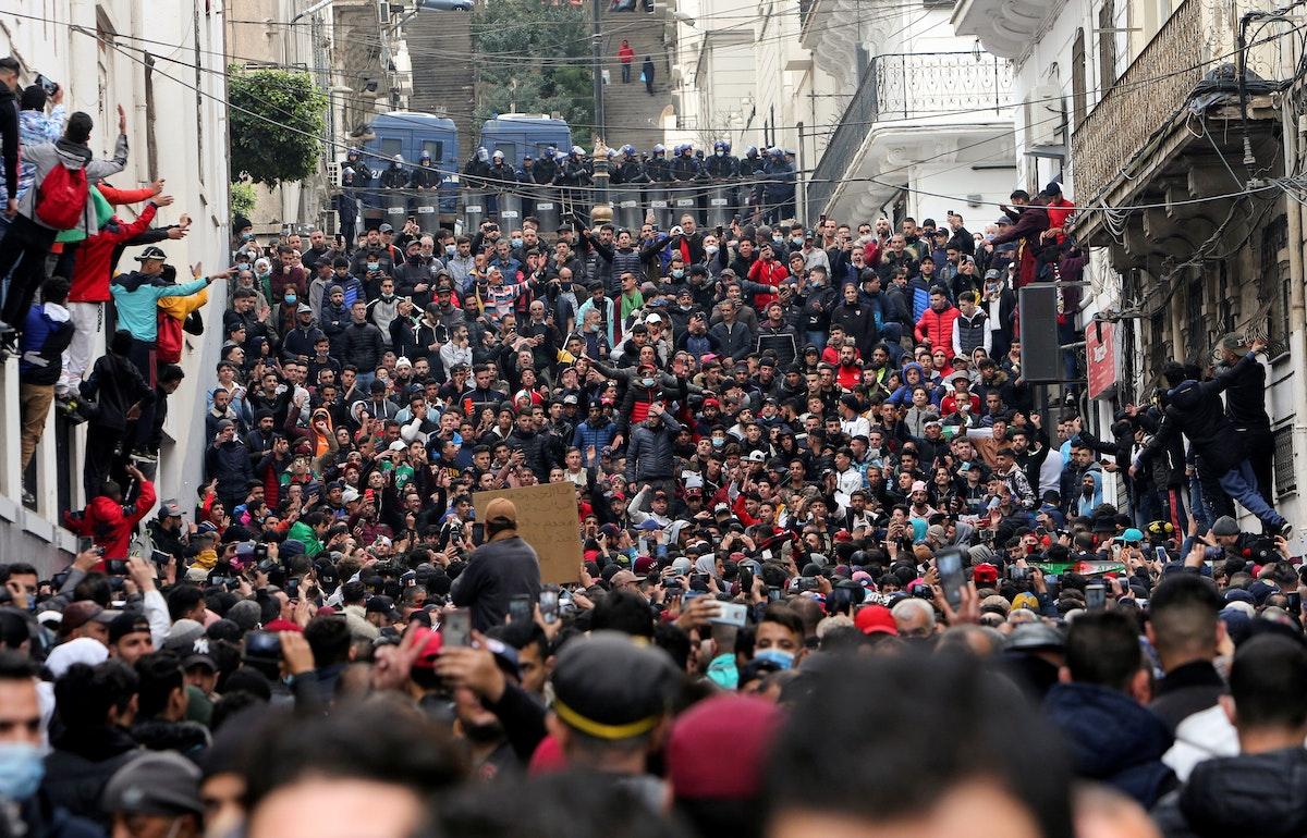 جانب من تظاهرة في الجزائر العاصمة في الذكرى الثانية للحراك، 22 فبراير 2021 - AFP