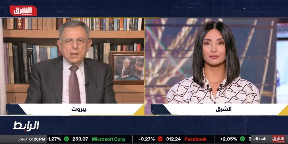 """رئيس الوزراء اللبناني الأسبق فؤاد السنيورة خلال حديثه لـ""""الشرق""""- 8 أبريل 2021 - """"الشرق"""""""
