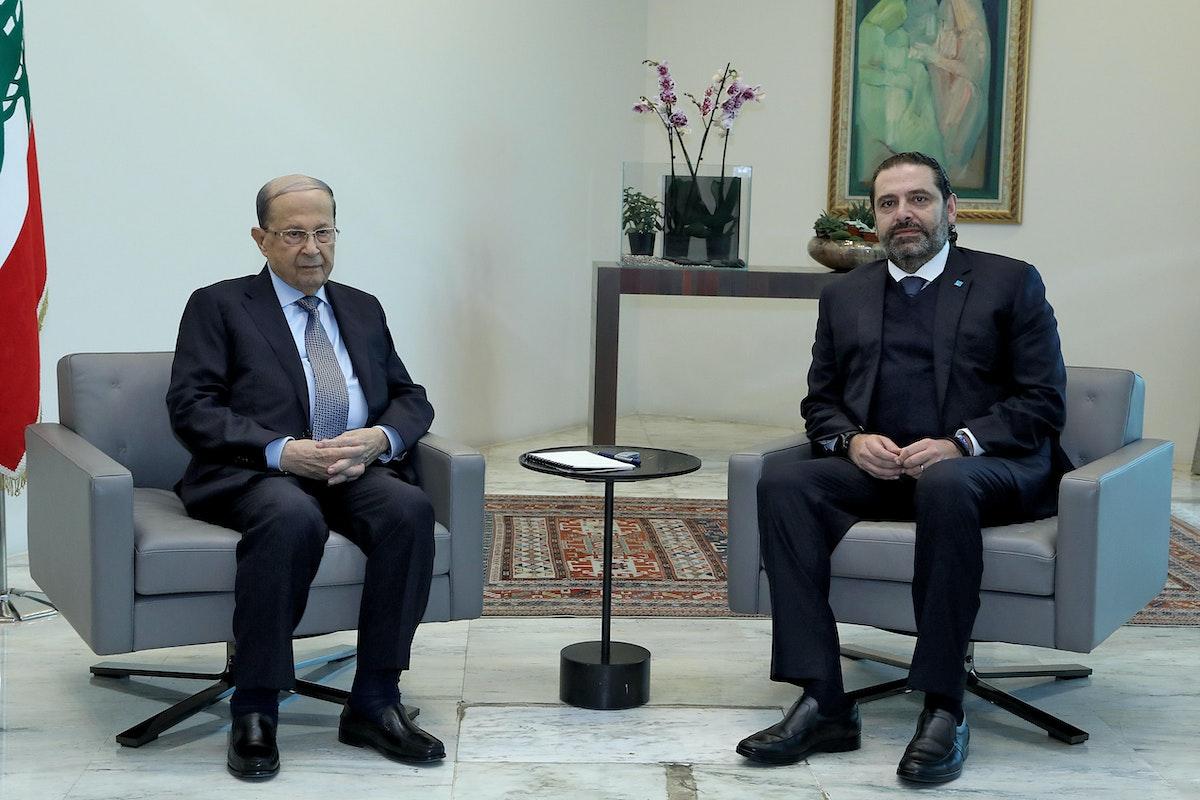 الحريري وعون في قصر بعبدا الرئاسي شرق بيروت - 19 ديسمبر 2019 - AFP