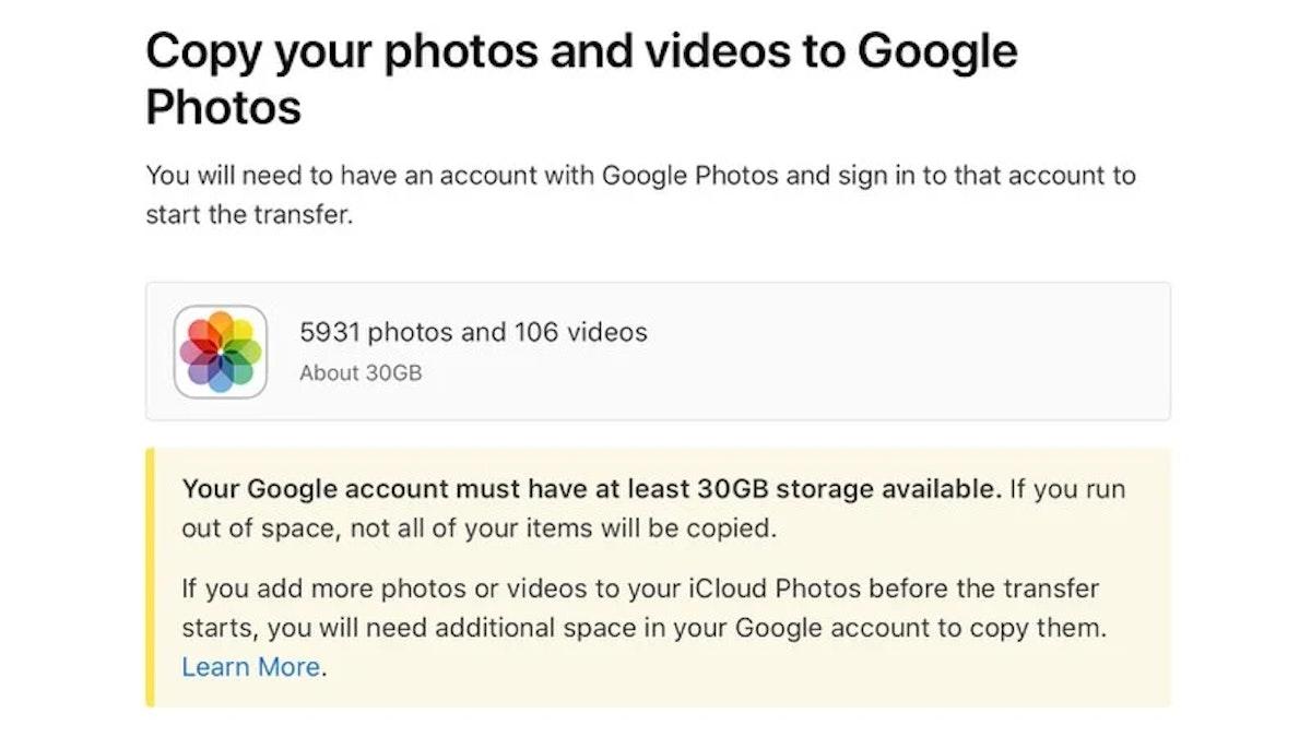 ميزة نسخ الصور من خدمة أبل iCloud إلى خدمة غوغل Photos - أبل