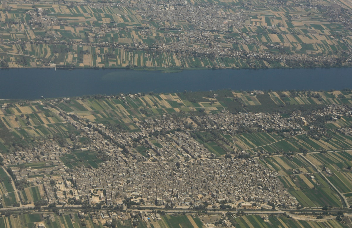 منظر جوي لدلتا النيل في مصر، حيث مساحات واسعة من الأراضي الزراعية المهددة بسبب سد النهضة - REUTERS
