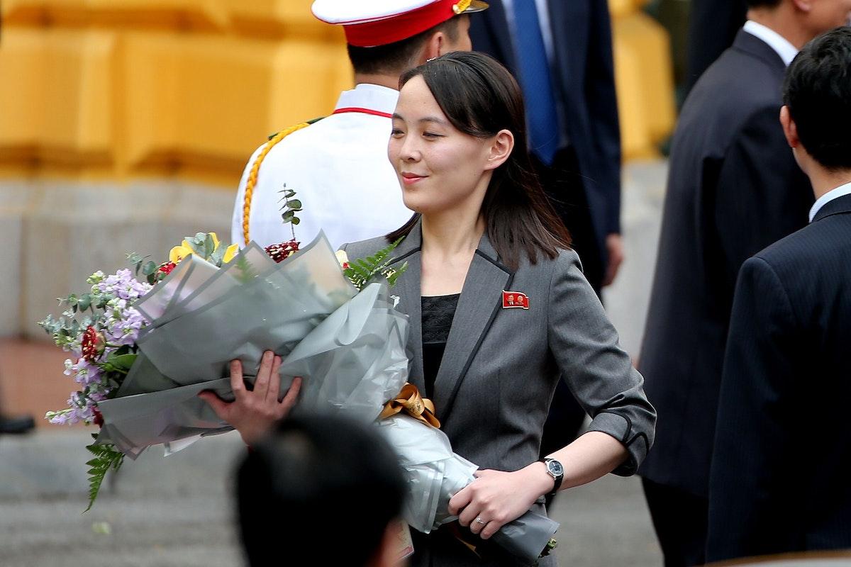 كيم يو جونغ، شقيقة الزعيم الكوري الشمالي كيم جونغ أون، خلال حفل استقبال في قصر الرئاسة بفيتنام - 1 مارس 2019 - Bloomberg