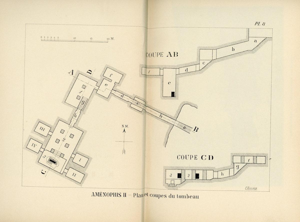 خريطة المقبرة 35 (الخبيئة المنسية). - كتاب مقبرة أمنتحتب الثاني لفيكتور لوريه-الشرق