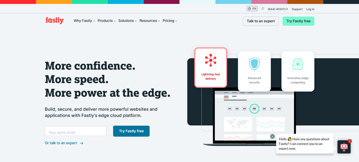 """الصفحة الرئيسة للموقع الإلكتروني لشركة """"فاستلي"""" - 9 يونيو 2021 - www.fastly.com"""