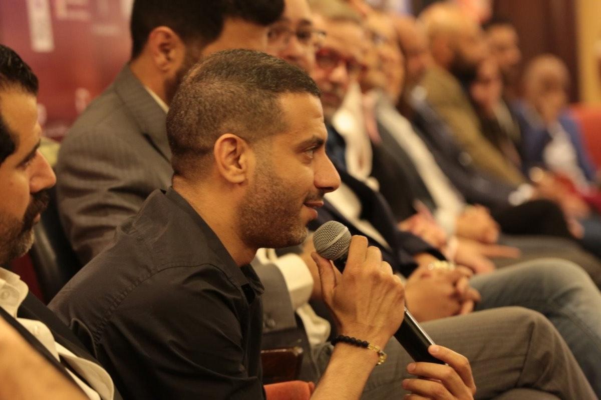 """محمد فراج في المؤتمر الصحافي لفيلم """"الممر"""" - الصفحة الرسمية للفيلم على فيسبوك"""