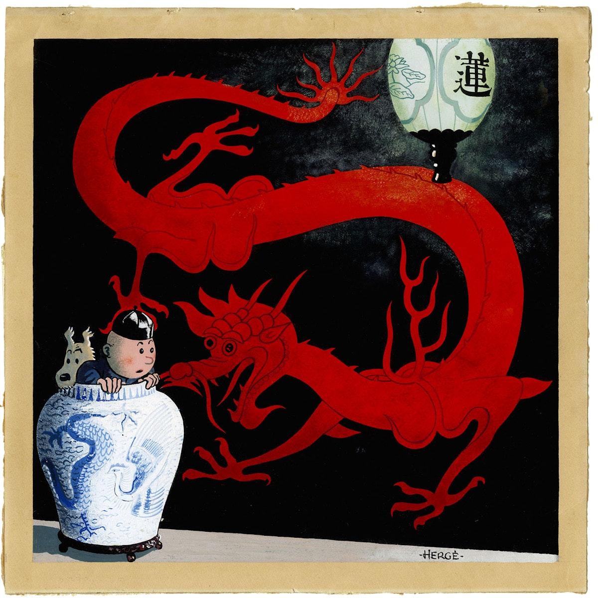 """لوحة الفنان إيرجيه، التي رسمها لمجلد """"مغامرات تانتان: زهرة اللوتس الأزرق"""" عام 1936 - موقع """"تانتان"""" الرسمي"""