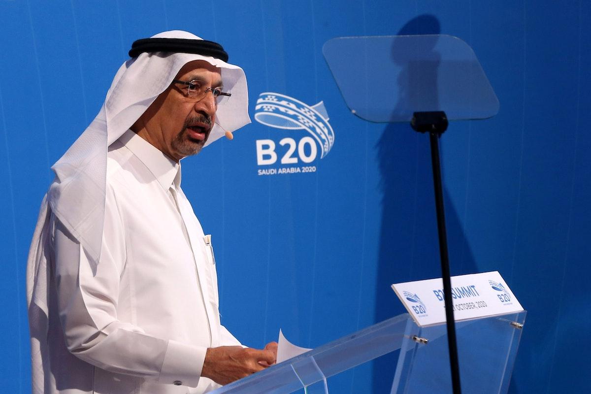 وزير الاستثمار السعودي خالد الفالح في اجتماع افتراضي لمجموعة B20، أحد اجتماعات مجموعة العشرين، الرياض، أكتوبر 2020 - REUTERS