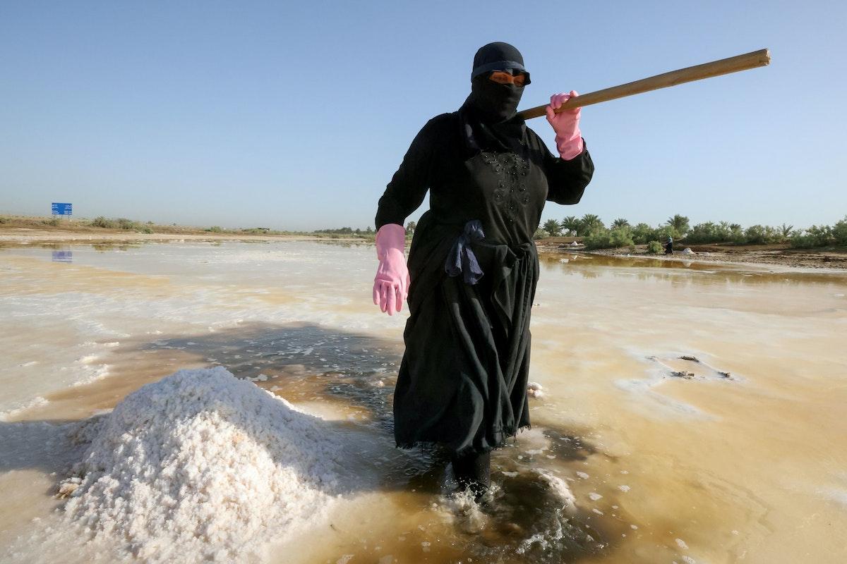 امرأة عراقية تجمع الملح الذي سيباع لاحقاً في الأسواق في بركة ملح في مدينة الديوانية - REUTERS