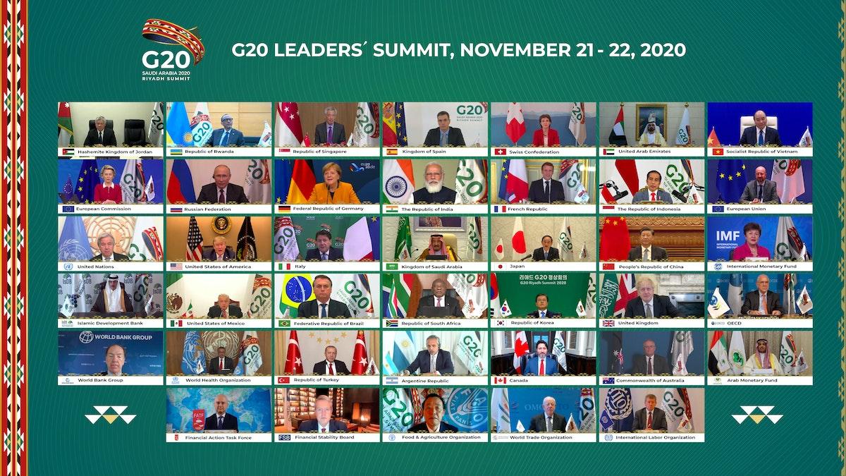 صورة جماعية لقمة القادة في مجموعة العشرين بالرياض، المنعقدة عبر تقنية الاتصال المرئي، 21 نوفمبر 2020 - G20 Saudi Arabia