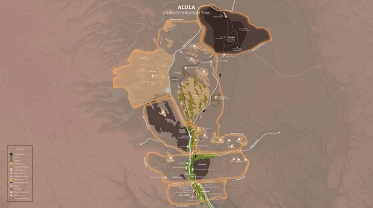 """خريطة توضح مسارات """"رحلة عبر الزمن"""" في محافظة العلا السعودية - """"الشرق"""""""