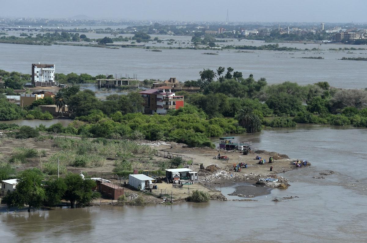جانب من ضواحي العاصمة السودانية الخرطوم غارق في الفيضان - 14 سبتمبر 2020 - AFP