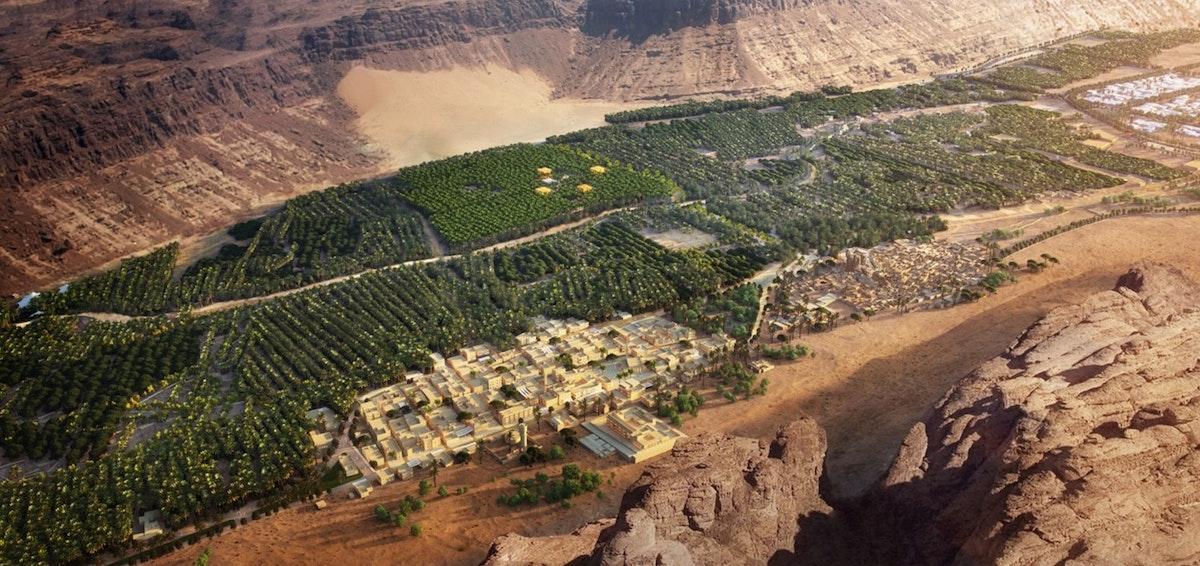 """مشهد عام للبلدة القديمة في منطقة العلا التاريخية يٌظهر تنوع التضاريس والمساحات الخضراء - """"الشرق"""""""