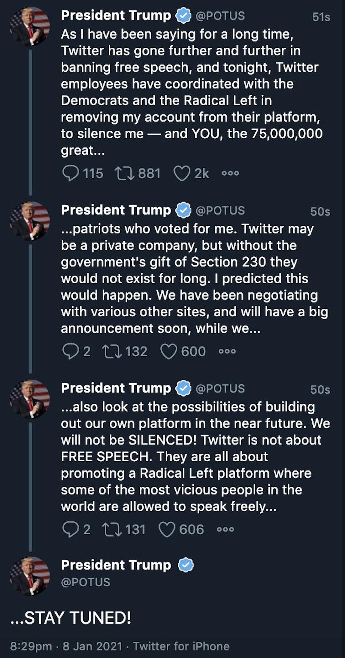 """تغريدات ترمب على الحساب الرسمي للرئيس الأميركي قبل أن يحذفها موقع """"تويتر"""""""