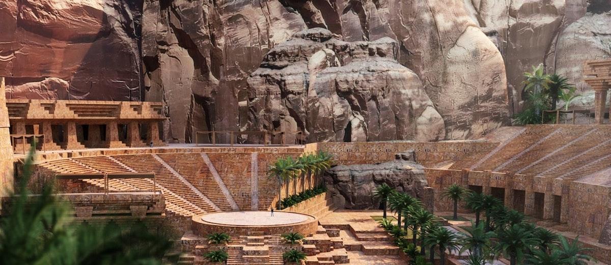 """تضم واحة النبطية في العلا عدة وجهات تراثية إحداها المسرح الذي سيقدم عروضاً حية للزوار - """"الشرق"""""""