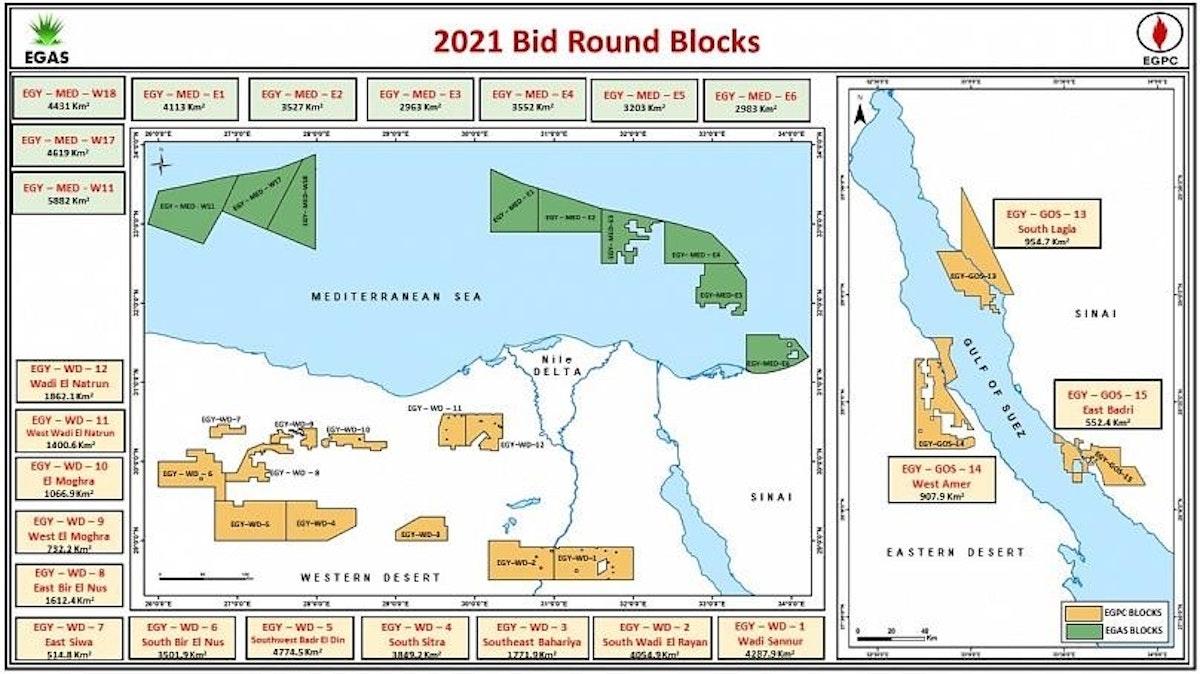 خريطة محدثة للمزايدة المصرية لمناطق التنقيب في البحر المتوسط (بعد التعديل) - petroleum.gov.eg