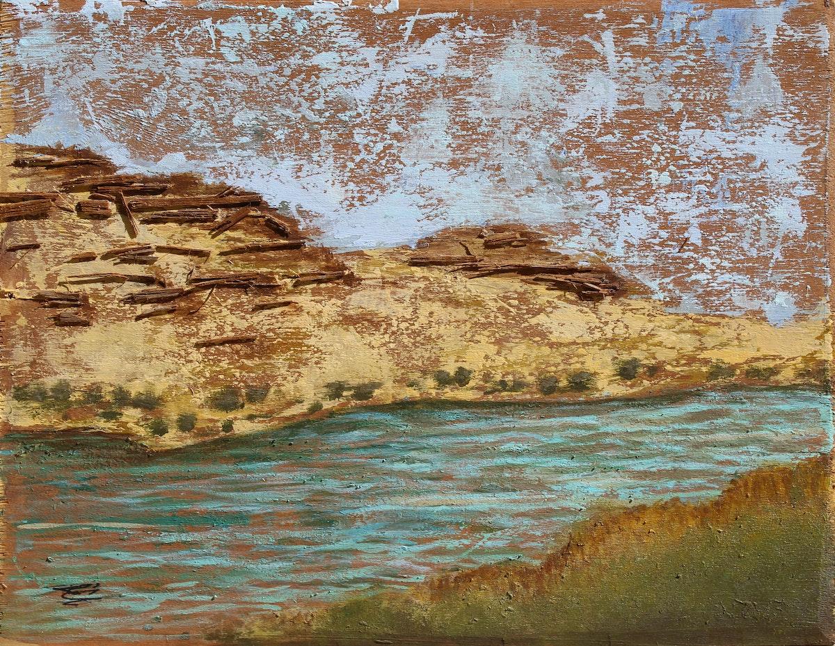 لوحة أكريليك وخامات متعددة - للفنانة سمية محمد محمود - الشرق